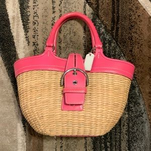 Coach wicker and pink leather handbag
